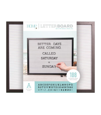 DCWV Home 20''x16'' Black & White Letter Board with 1'' Black Letters