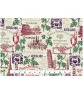 Novelty Cotton Fabric 43\u0027\u0027-Wine Stamp