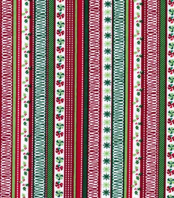 Holiday Cotton Fabric -Holly Stripes