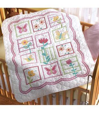 "Bucilla Sophie Crib Cover Stamped Cross Stitch Kit-34""x43"""