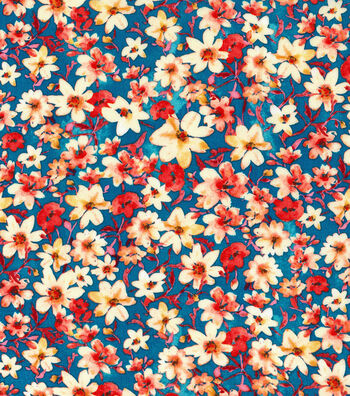 """Kathy Davis Apparel Rayon Fabric 53""""-Small Scale Multi Colored Floral"""