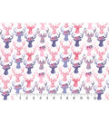 Premium Cotton Print Fabric 43\u0027\u0027-Pink Stag Heads on Pearl
