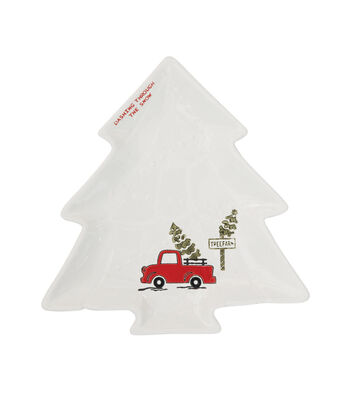 3R Studios Christmas Tree Shaped Plate-Truck with Tree