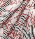 Silky Crinkle Rayon Fabric-White Black Orange Floral Stripe