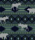 Snuggle Flannel Fabric-Blue Aztec & Animals Stripe