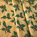 Holiday Decor Fabric-Glitter Holly On Satin