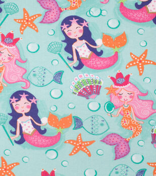 Super Snuggle Flannel Fabric-Pretty Mermaids