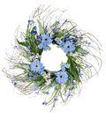 Fresh Picked Spring 24\u0027\u0027 Zinnia, Wildflower & Twig Wreath-Blue