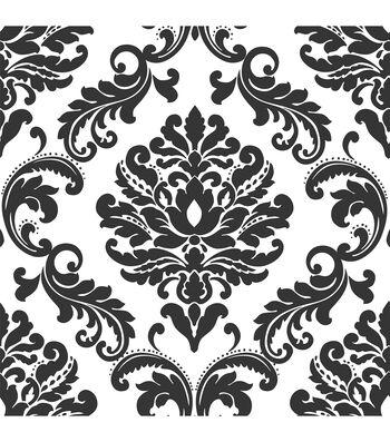WallPops NuWallpaper Ariel Black and White Damask Peel And Stick Wallpaper