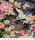 Asian Inspired Cotton Fabric 43\u0022-Floral Main Blue Metallic