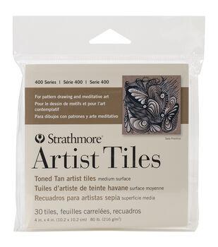 """Strathmore Artist Tiles 4""""X4"""" 30/Pkg-Toned Tan"""