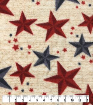 Anti-Pill Plush Fleece Fabric-Navy Red Stars On Script