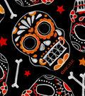 Halloween Cotton Fabric -Sugar Skull Toss on Black