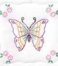 Stamped White Quilt Blocks 9\u0022X9\u0022-Butterfly