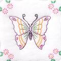 Stamped White Quilt Blocks 9\u0022X9\u0022-Butterfly