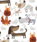 No-Sew Throw Fleece Fabric 48\u0022-Dogs & Sketched Toys