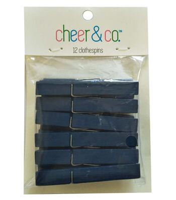 Cheer & Co. 12 pk Medium Clothespins-Navy