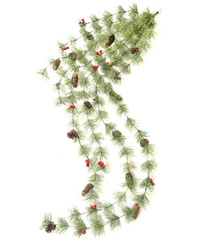 Handmade Holiday Christmas 66'' Spider Pine, Pinecone & Berry Garland