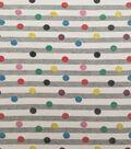 Doodles Cotton Spandex Fabric-Gray White Multi Glitter Dot Stripe