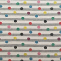 Doodles Cotton & Spandex Fabric-Glitter Dots on Gray & White Stripes