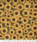 Harvest Cotton Fabric 43\u0022-Packed Sunflowers