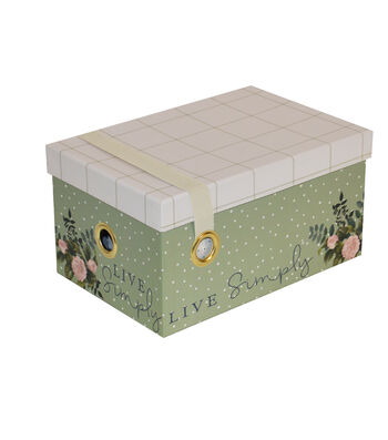 Small Steamer Storage Box with Elastic Strap-Garden Plaid