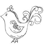 "Mini Clear Stamp 3""X5""-Flourish Bird, , hi-res"