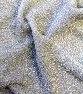 "Metallics Knit Fabric 58""-Silver and White"
