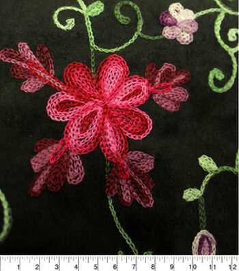 SUEDEsays Faux Suede Fabric- Floral Multi Embroidery Aloba
