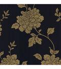 Keika Navy Japanese Floral Wallpaper Sample