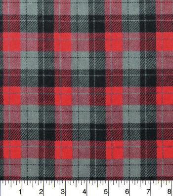 """Snuggle Flannel Fabric 42""""-Skylar Red Black Plaid"""