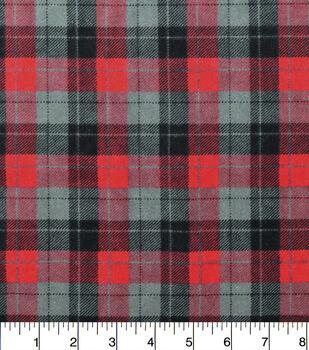 Snuggle Flannel Fabric -Skylar Red Black Plaid