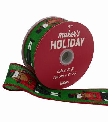 Maker's Holiday Christmas Ribbon 1.5''x30'-Nutcrackers on Green