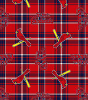 St. Louis Cardinals Fleece Fabric -Plaid, , hi-res
