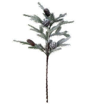 Handmade Holiday Christmas Flocked Pine & Pinecone Spray