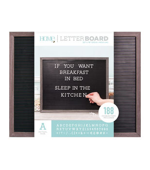 DCWV Home 20''x16'' Black Letter Board with 1'' White Letters