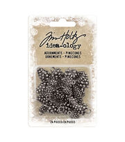 "Idea-Ology Metal Adornments .5"" & .75"" 24/Pkg-Antique Nickel Pinecones, , hi-res"