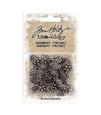 """Idea-Ology Metal Adornments .5"""" & .75"""" 24/Pkg-Antique Nickel Pinecones"""