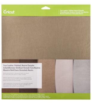 Cricut 12''x12'' Faux Leather Pebbled Sampler-Neutral