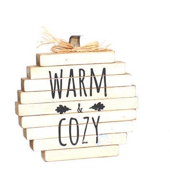 Simply Autumn Pumpkin Word Block-Warm & Cozy on White
