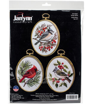 "Winter Birds Embroidery Kit Set Of 3-3""X4"" Stitched In Floss"