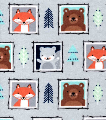 Nursery Flannel Fabric-Eamon Framed Faces