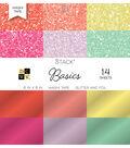 DCWV Pack of 14 6\u0022x6\u0022 Glitter & Foil Washi Tape Stack-Basics