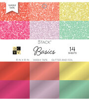 "DCWV Pack of 14 6""x6"" Glitter & Foil Washi Tape Stack-Basics, , hi-res"