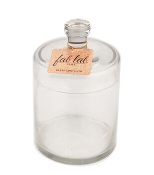 Fab Lab Craft 6'' Round Glass Container with Lid-Clear