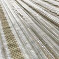 Lace Knit Fabric-Ivory & Champagne Stripes