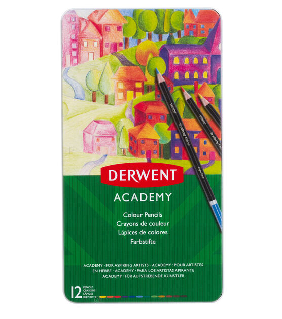 Tin of 12 Derwent Coloured Drawing Pencils