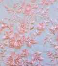 Fashion Apparel Fabric 54\u0022-Embroidered Floral Peach Skin