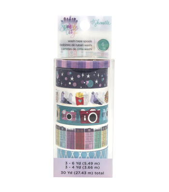 Shimelle Sparkle City Washi Tape 8pk with Holographic Foil Accents