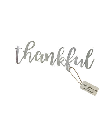 Simply Autumn 9'' Galvanized Metal-Thankful